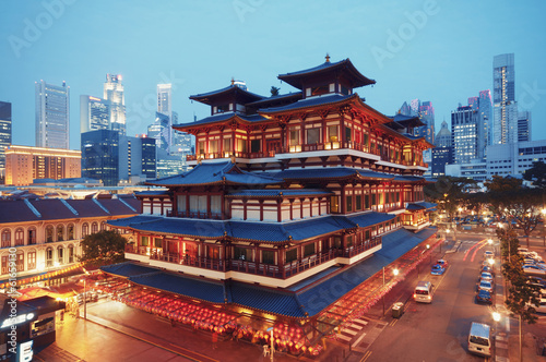 Canvas Singapore Buddha Toothe Relic Temple in Chinatown in Singapore.