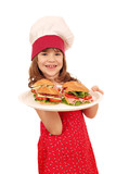 happy little girl cook with sandwiches