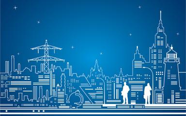 Neon city, vector lines town