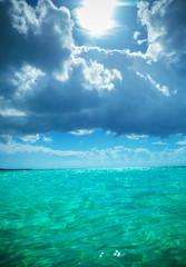 beautiful waters of the caribbean sea near saona island