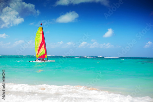 catamaran sailing in the caribbean sea