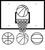 vector collection of basketballs and backboard