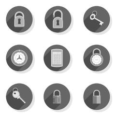 zamki kłódki klucze płaski zestaw ikon