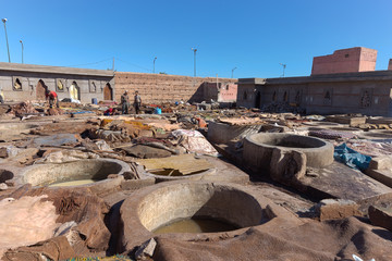 Leather production in Marrakesh, Morocco