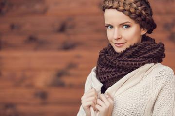 Portrait of beautiful woman. Fashion photo outdoor