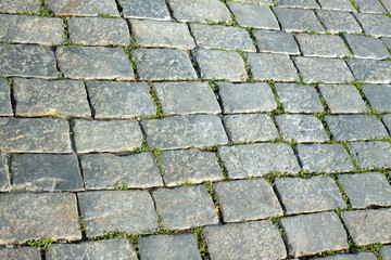 Street paved with gray cobblestones. Close-up view
