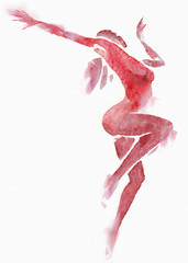 Naked Modern Dancer RedWatercolor on White