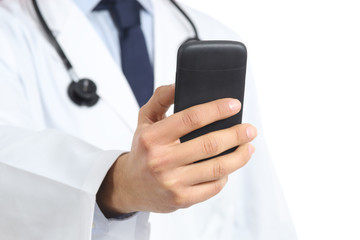 Close up of a doctor man hand holding and using a smart phone