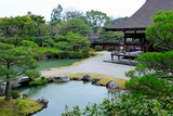 Japanese garden with pond