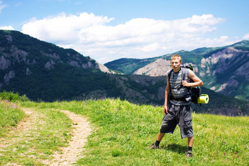 tourist on the background of the Crimean Mountains