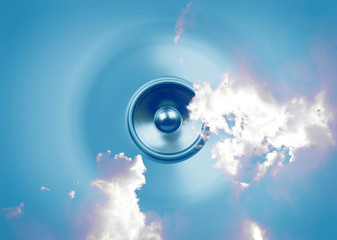 Spinning music speaker with clouds