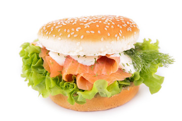 burger with smoked salmon