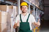 Happy warehouse worker