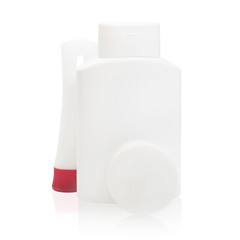 Set of cosmetic bottles isolated hotel on a white background