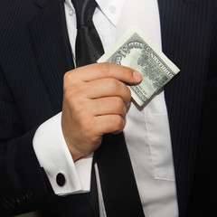 Businessmen holding money 100 dollars