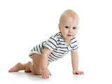 crawling baby boy isolated