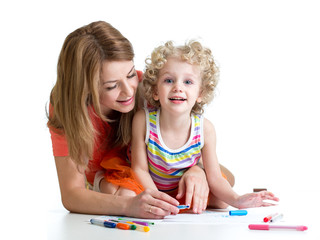 little child with mother drawing with color pen over white