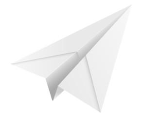 white paper airplane icon