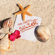 Blank paper beach sand starfish shells summer