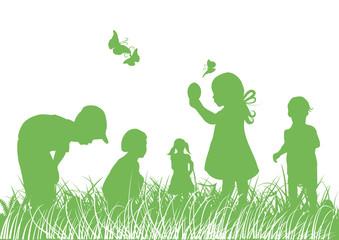 Hintergrund,Shilhoutten, Kinder,Bio,Eier,Wiese,grün