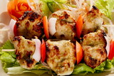 Kebab Platter are small pieces of meat on skewers