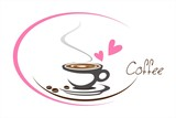 hot coffee , love , business logo design