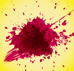 Abstract red splash on yellow background.