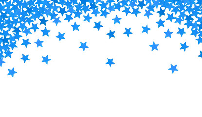 Blue stars in the form of confetti on white