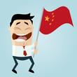 china mann fahne schwenken