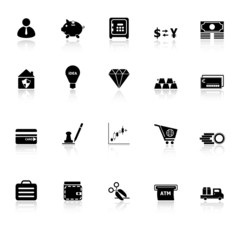 Money icons with reflect on white background