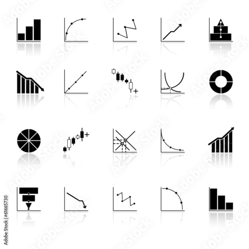 Diagram and graph icons with reflect on white background