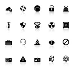 Safety icons with reflect on white background