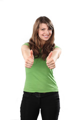 Young woman thumb up on white background
