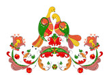 Russian traditional ornament with paradise birds