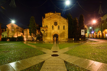 Santo Stefano church and square by night