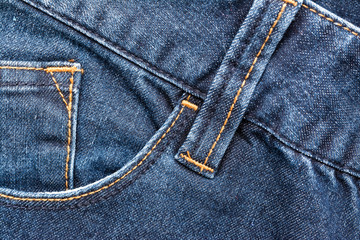 Blue Denim Jeans Pocket Close Up Details