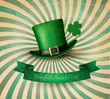 Saint Patrick's Day card with clove leaf and green hat. Vector i