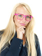 Blond business woman with a pair of glasses