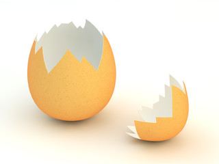 Broken eggshell  on white background , Easter