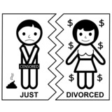 Divorce - marriage - Just divorced, gold digger, vector, icon