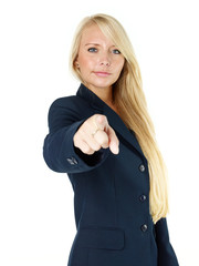 Business woman points up to you