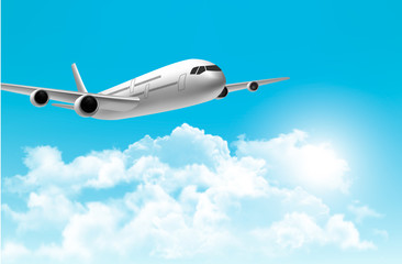 Travel background with an airplane. Vector.