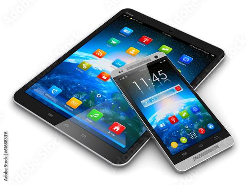 Leinwanddruck Bild Tablet computer and smartphone