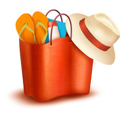 Beach bag with swimming suit. Vector