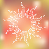 White Sun on Colorful Background