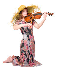 young woman plays the viola