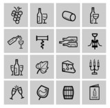 vector black wine icon set