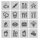 vector black kitchen icons set
