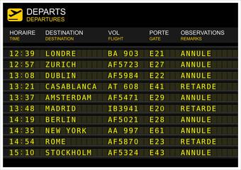 Tableau des départs de vol dans un aéroport