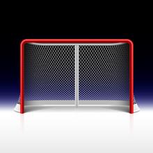 Filet de hockey sur glace, objectif sur le noir
